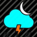 bolt, cloud, forecast, lightning, moon