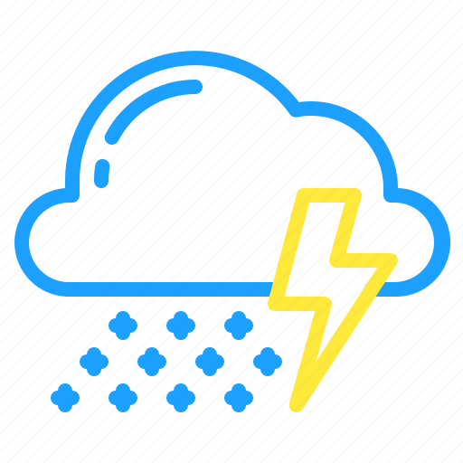cloud, snow, storm, thunder, weather icon