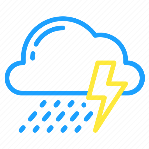 cloud, showers, storm, thunder, weather icon