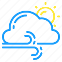 cloudy, day, gusts, sun, thunder, weather, windy icon