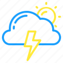cloud, day, lightning, sun, thunder, weather icon