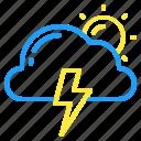 cloud, day, lightning, sun, thunder, weather