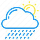cloud, day, showers, sun, weather icon