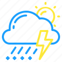 cloud, day, sleet, storm, sun, weather icon
