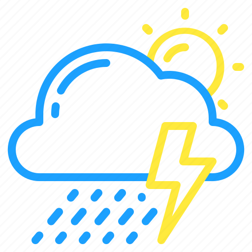 cloud, day, showers, storm, sun, thunder, weather icon