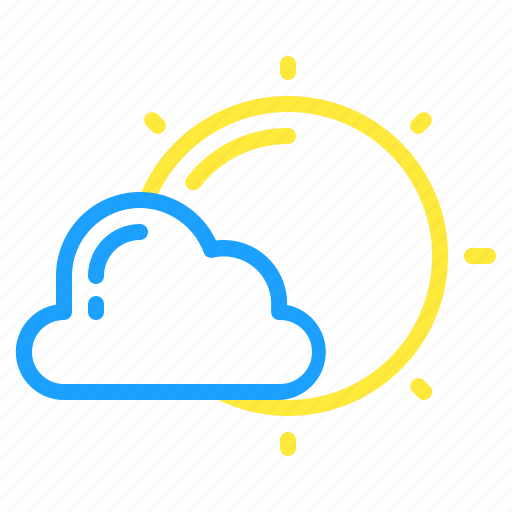 cloud, day, overcast, sun, sunny, weather icon