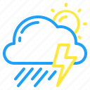 cloud, day, sun, thunder, thunderstorm, weather icon