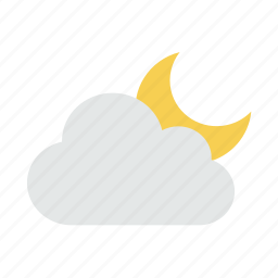 cloud, clouds, cloudy, moon, night, weather icon