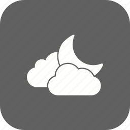 cloud and moon, cloudy, moon, night icon