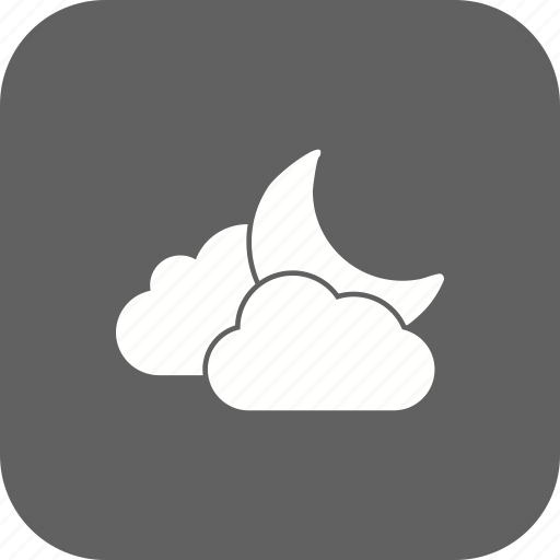 cloud and moon, moon, night icon
