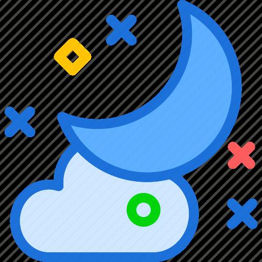 cloud, cloudy, moon icon