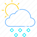 cloud, cloudy, forecast, hail, ice, sun, weather icon