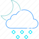 cloudy, forecast, hail, ice, moon, night, weather icon