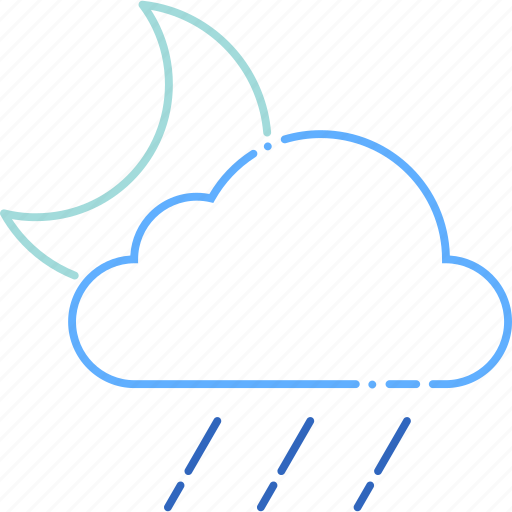 cloud, cloudy, forecast, moon, night, rain, weather icon