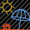 beach, hot, season, summer, sun, umbrella, warm icon