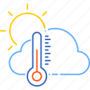 cloud, forecast, spring, sun, temperature, warm, weather icon