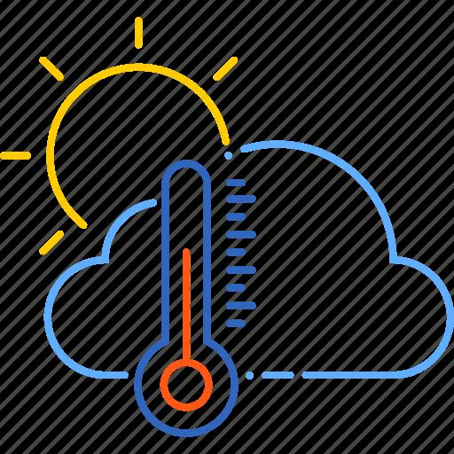 cloud, forecast, spring, sun, temperature, warm, weather icon