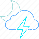 forecast, moon, night, storm, thunder, thunderstorm, weather icon