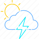 forecast, storm, sun, thunder, thunderstorm, weather icon