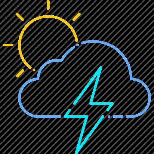 forecast, storm, sun, thunder, thunderstorm, weather icon