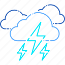 danger, forecast, lightning, thunder, thunderstorm, weather icon