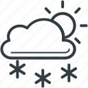 cloud, forecast, snowfall, sun, weather icon