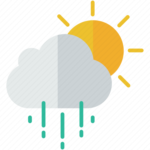 cloud, forecast, partly, rain, rainy, sun, weather icon