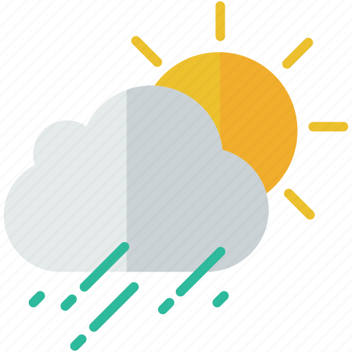 cloud, forecast, partly, rain, shower, sun, weather icon