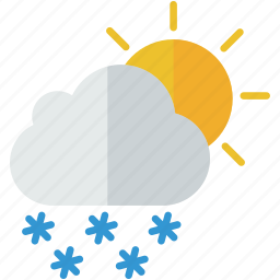 forecast, partly, snowy, sun, weather, winter icon