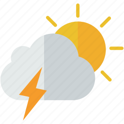 cloud, forecast, partly, stormy, sun, weather icon