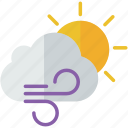 cloud, forecast, partly, sun, weather, wind, windy icon
