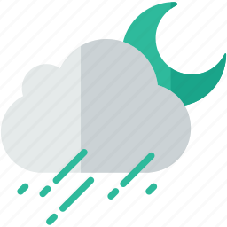 cloud, forecast, night, rainy, weather icon