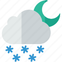 forecast, moon, night, snow, snowy, weather icon