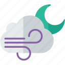 cloudy, forecast, moon, night, weather, windy icon