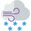 forecast, snowy, weather, windy icon