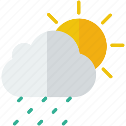 forecast, partly, rain, rainy, sun, weather icon