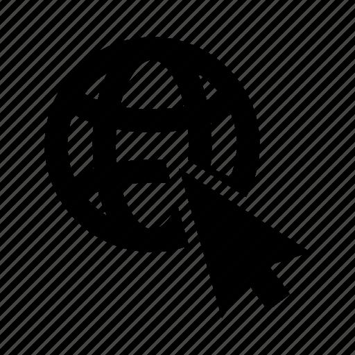 arrow, click, cursor, globe, web icon
