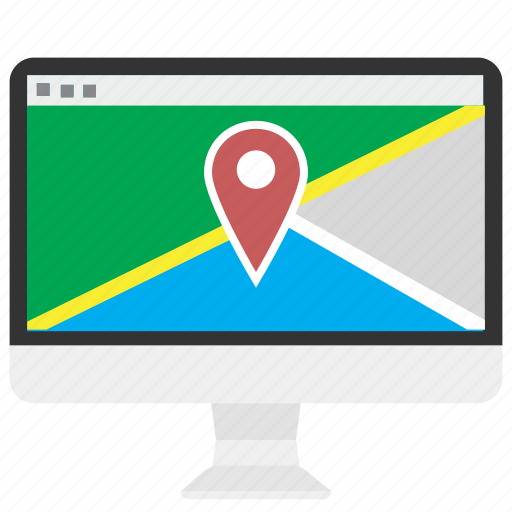 computer, data, geocoding, google, location, maps, marker icon