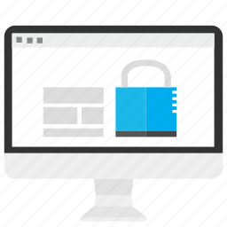 computer, data, lock, proteccion, safe, screen, security icon