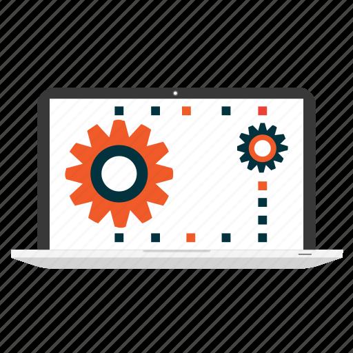 cogwheel, design, development, laptop, settings, web, website icon