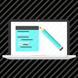 coding, develoment, laptop, program, screen, test, testing icon
