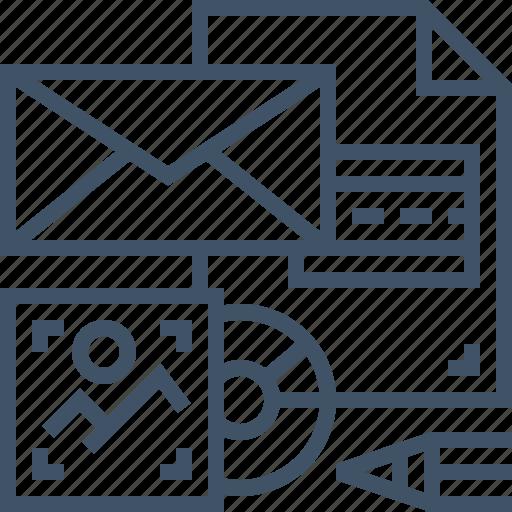 branding, design, envelope, image, pencil, photo, vcd icon