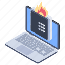 annihilate, cyber attack, data deleted, data destroyed, safe burning, virus attack icon