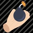 cyber attack, cyber bomb, danger, logic bomb, malware icon