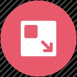 down arrow, less screen, minimize, screen, screen adjustment, window icon