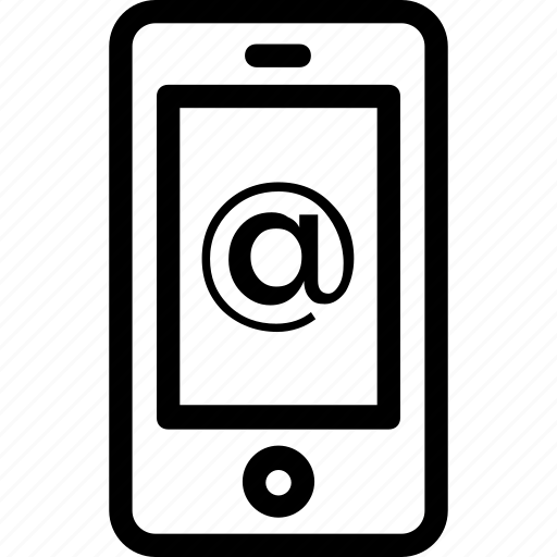 arroba, email, mobile, smartphone, tablet icon