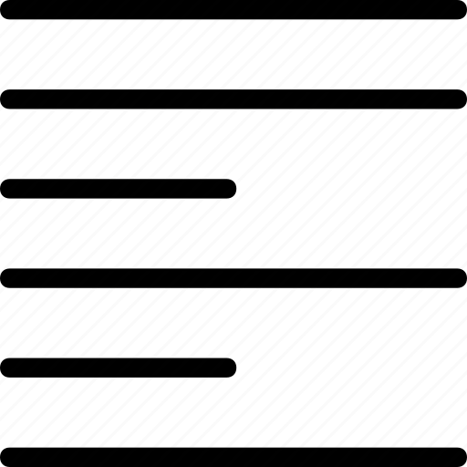 alignment, left align, sorting, text, text lines icon