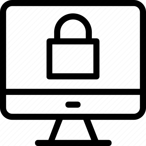 lock, lock screen, monitor, protection, security icon
