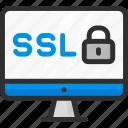 computer, display, lock, monitor, padlock, ssl icon