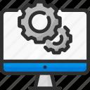 cogwheel, computer, monitor, options, pc, settings icon
